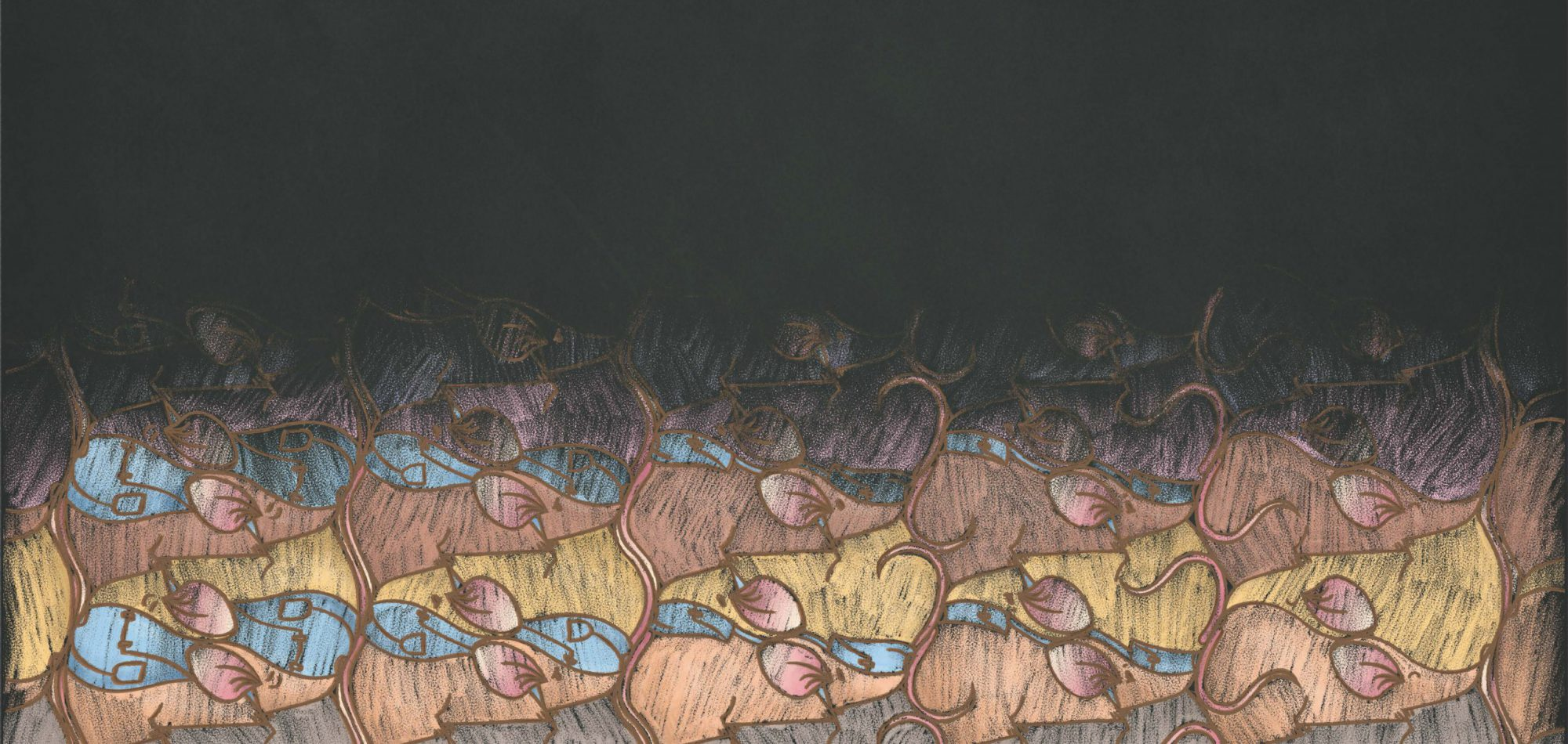 Mice in Escher tessellation, designed by Sylwia Regulska